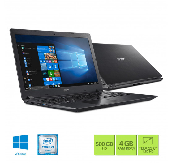 "Notebook Acer 15,6"" A315-51-347W i3-6006U 4GB 500GB Win 10"