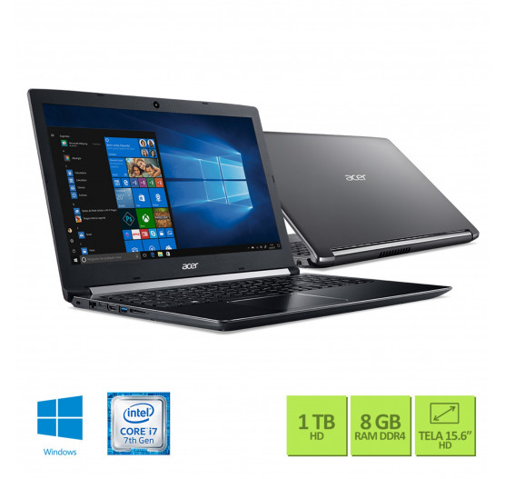 "Notebook Acer 15.6"" A515-51-75RV i7-7500U 8GB 1TB W10 Cinza"