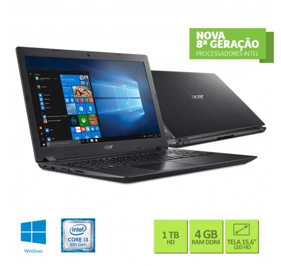 """Notebook Acer 15.6"""" A315-51-30V4 i3-8130U 4GB 1TB W10 Preto"""