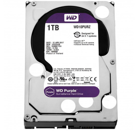 HD Interno Western Digital 1TB Purple A/V SATA - WD10PURZ