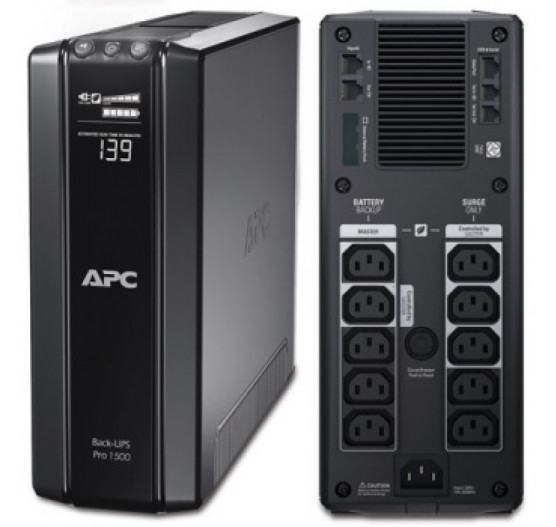 Nobreak APC BR1500GI 1500VA 865W BACK-UPS PRO (ENTRADA/SAIDA 230V) POWER-SAVING, Display LCD com 10 Tomadas