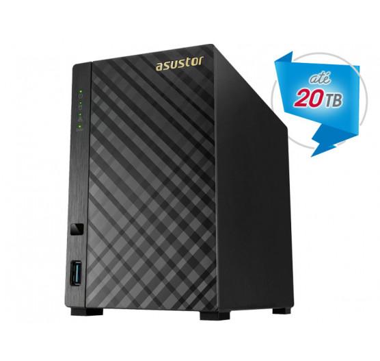 Storage de Backup e Vigilância AS1002T NAS Asustor Dual Core 1,0 GHZ 512MB DDR3 Torre 2 Baias