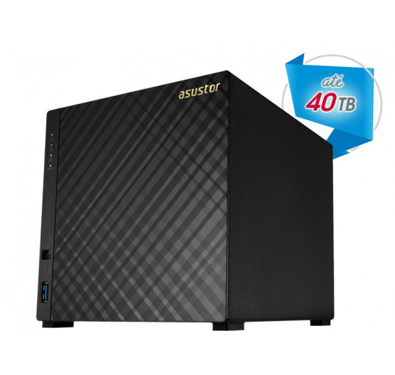 Storage de Backup e Vigilância AS1004T NAS Asustor Dual Core 1,0 GHZ 512MB DDR3 Torre 04 Baias sem Disco