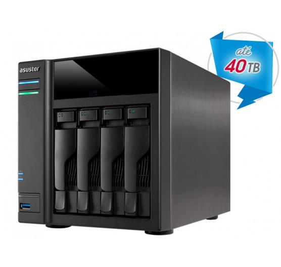 Storage de Backup e Vigilância AS6104T NAS Asustor Dual Core J3060 1,6GHZ 2GB DDR3 Torre 04 Baias
