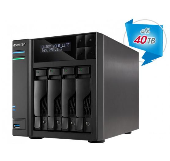 Storage de Backup e Vigilância AS6204T NAS Asustor Quad Core J3160 1,6GHZ 4GB DDR3 Torre 4 Baias