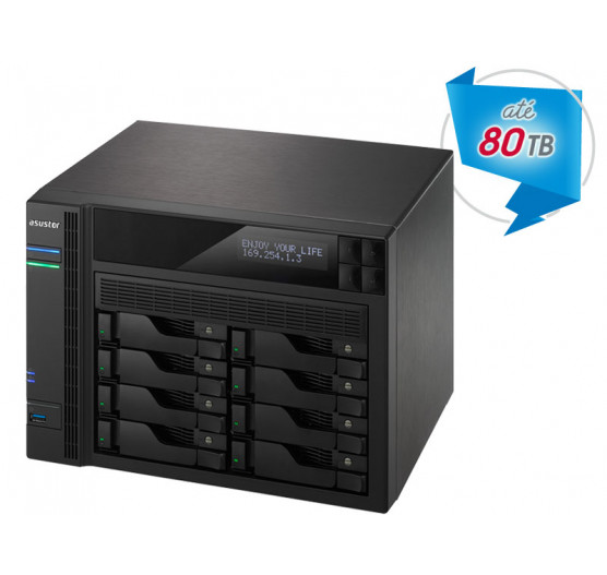 NAS 8 Baias AS6208T NAS Asustor Quad Core J3160 1,6GHZ 4GB DDR3 Torre de Backup e Vigilância