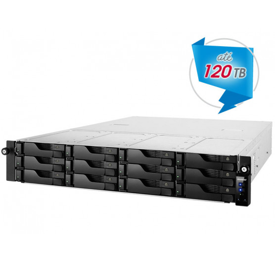 Storage 12 Baias NAS Asustor AS6212RD Quad Core J3160 1,6GHZ 4GB DDR3 RACK 12 Baias Backup Vigilância sem Disco