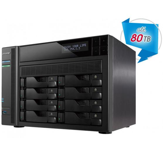 Storage 8 Baias NAS Asustor AS7008T Core I3 3,5GHZ 2GB DDR3 Torre Backup e Vigilância sem Disco