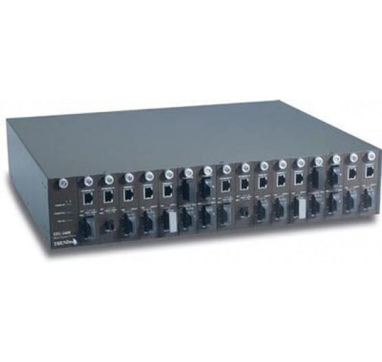 Chassis TFC-1600, C/ 16 SLOTS para Conversores de Midia Fibra ótica + 1X Fonte AC Trendnet