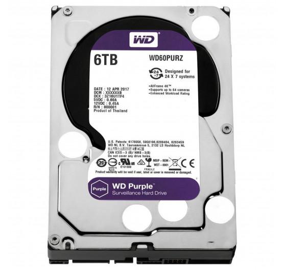 HD Interno Western Digital 6TB Purple A/V SATA - WD60PURZ