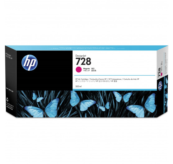 Cartucho de Tinta HP 728 Magenta PLUK 300 ml - F9K16A