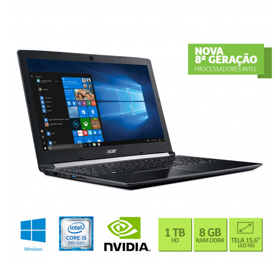 "Notebook Acer 15.6"" A515-51G-C690 i7-8550U 8GB 1TB P. Vídeo"